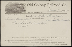 Receipt for the Old Colony Railroad Co., Boston, Mass., dated March 11, 1885