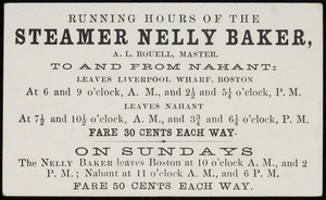Trade card for the steamer Nelly Baker, location unknown, undated