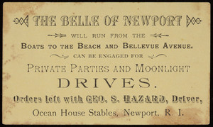 Trade card for the Belle of Newport, Ocean House Stables, Newport, Rhode Island, undated
