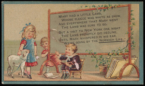 Trade card for the Norwich Line between Boston and New York, via the New York & New England Railroad, 322 Washington Street and depot foot of Summer Street, Boston, Mass., undated