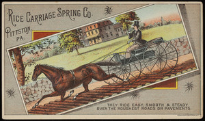 Trade card for the Rice Carriage Spring Co., Rice Coil Spring, Pittston, Pennsylvania, undated
