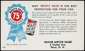 Trade card for Wolf's Head Motor Oil, location unknown, 1954