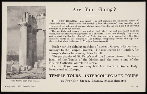 Postcard for Temple Tours, Intercollegiate Tours, 65 Franklin Street, Boston, Mass., 1923
