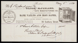 Billhead for Tilton, McFarland Safe Manufacturing Co., manufacturers of McFarland's Patent Bank Vaults and Iron Safes, 110 Sudbury Street, Boston, Mass., dated May 5, 1874
