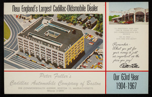 Postcards for Peter Fuller's Cadillac Automobile Company of Boston, 808 Comonwealth Avenue, Boston 15, Mass., 1967