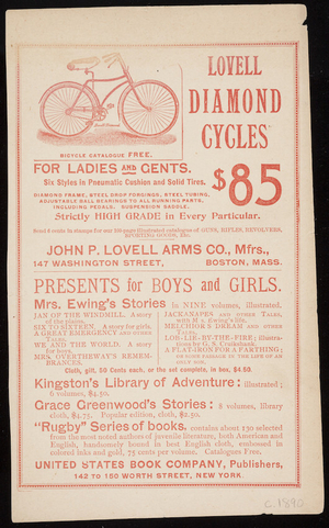 Advertisement for Lovell Diamond Cycles, John P. Lovell Arms Co., mfrs., 147 Washington Street, Boston, Mass., ca. 1890