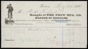 Billhead for The Pope Mfg. Co., makers of bicycles, 597 Washington Street, Boston, Mass., dated May 6, 1881
