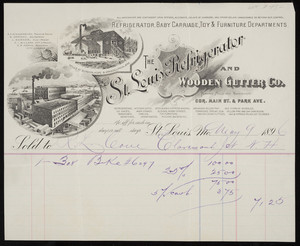 Billhead for The St. Louis Refrigerator and Wooden Gutter Co., corner Main Street & Park Avenue, St. Louis, Missouri, dated May 9, 1896