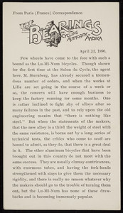 Bearings, The Cycling Authority of America, Paris, France, April 2, 1896