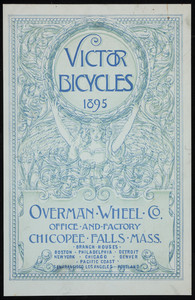 Trade card for Victor Bicycles, Overman Wheel Co., office and factory, Chicopee Falls, Mass., 1895