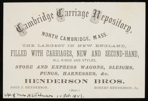 Trade card for the Cambridge Carriage Repository, Henderson Bros., North Cambridge, Mass., undated