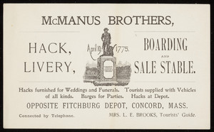 Trade card for McManus Brothers, hack, livery, boarding and sale stable, Concord, Mass., undated