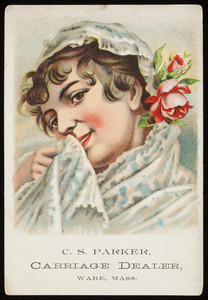 Trade card for C.S. Parker, carriage dealer, West Main Street, Ware, Mass., undated
