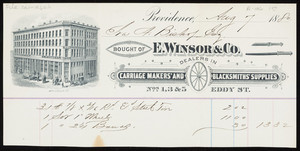 Billhead for E. Winsor & Co., dealers in carriage makers' and blacksmiths' supplies, Nos. 1, 3 & 5 Eddy Street, Providence, Rhode Island, dated August 7, 1880