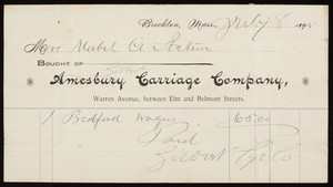 Billhead for the Amesbury Carriage Company, Warren Avenue, between Elm and Belmont Streets, Brockton, Mass., dated July 8, 1895