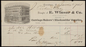 Billhead for E. Winsor & Co., dealers in carriage makers' and blacksmiths' supplies, Nos. 1, 3 and 5 Eddy Street, Providence, Rhode Island, dated June 27, 1878