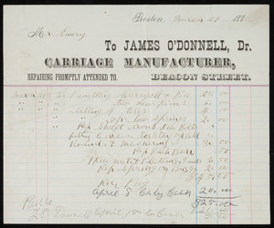 Billhead for James O'Donnell, Dr., carriage manufacturer, Beacon Street, Boston, Mass., dated March 29, 1882