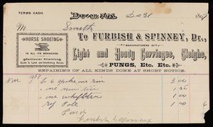 Billhead for Furbish & Spinney, Dr., light and heavy carriages, sleighs, pungs, etc., Dover, New Hampshire, dated December 31, 1897