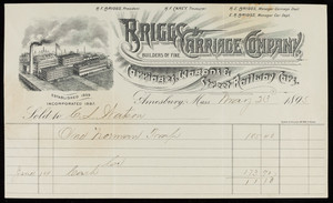 Billhead for Briggs Carriage Company, builders of fine carriages, wagons & street railway cars, Amesbury, Mass., dated May 23, 1895