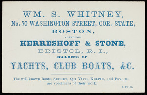 Business card for Wm. S. Whitney, insurance agent, No. 70 Washington Street, corner State, Boston, Mass., undated