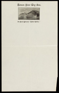Letterhead for the Hudson River Day Line, steamers, Desbrosses Street Pier, New York, New York, undated