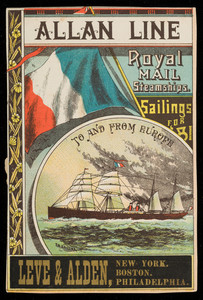 Trade card for the Allan Line, Royal Mail Steamship, Leve & Alden, New York, Boston, Philadelphia, 1881