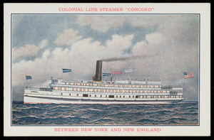 Colonial Line Steamer Concord between New York and New England, location unknown, 1910s