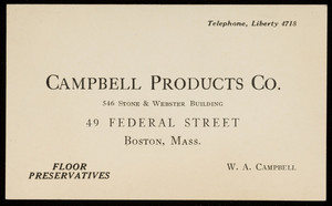 Trade card for the Campbell Products Co., floor preservatives, 546 Stone & Webster Building, 49 Federal Street, Boston, Mass., 1926
