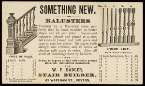 Postcard for W.F. Badger, stair builder, 63 Wareham Street, Boston, Mass., April 25, 1876