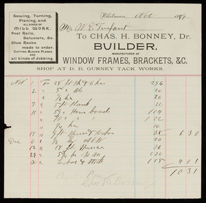 Billhead for Chas. H. Bonney, Dr., builder, manufacturer of window frames, brackets, Whitman, Mass., dated November 1889