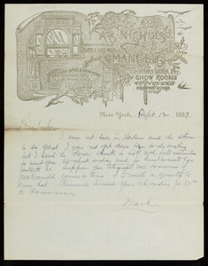 Letterhead for A.S. Nichols, manufacturer of slate & hard wood mantels, brass work, show rooms, No. 15 W. 27 Street between Broadway & 5th Avenue, New York, New York, dated September 12, 1889