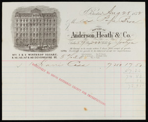 Billhead for Anderson, Heath & Co., Nos. 5 & 6 Winthrop Square & 141, 145, 147 & 149 Devonshire Street, Boston, Mass., dated August 28, 1872