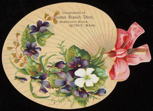 Trade card for Boston Branch Store, pharmacy, Robertson Block, Quincy, Mass., undated