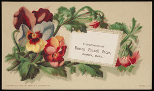 Trade card for Boston Branch Store, pharmacy, Quincy, Mass., 1878