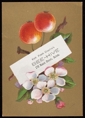 Trade card for Frank Cousins's Bee-Hive, dry goods, 172 Essex Street, Salem, Mass., undated
