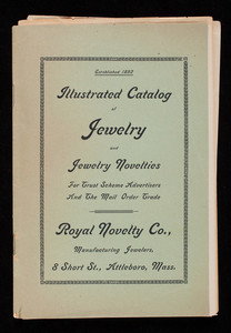 Illustrated catalog of jewelry and jewelry novelties for trust scheme advertisers and the mail order trade, Royal Novelty Co., manufacturing jewelers, 8 Short St., Attleboro, Mass.