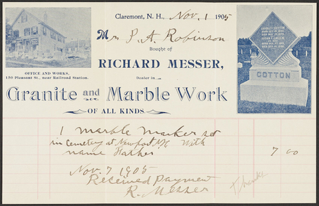 Billhead for Richard Messer, dealer in granite and marble work of all kinds, Claremont, New Hampshire, dated November 1, 1905