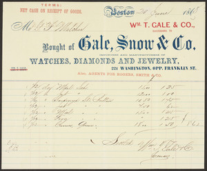 Billhead for Gale, Snow & Co., importers and manufacturers of watches, diamonds and jewelry, 221 Washington, opp. Frnaklin Street, Boston, Mass., dated 20 June 1868