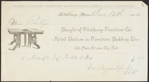 Billhead for the Fitchburg Furniture Co., retail dealers in furniture, bedding, etc. 335 Main Street, near City Hall, Fitchburg, Mass., dated December 19, 1884