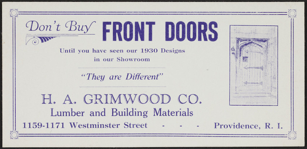 Trade card for H.A. Grimwood Co., lumber and building materials, 1159-1171 Westminster Street, Providence, Rhode Island, 1930