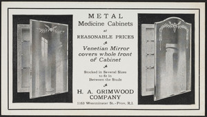 Trade Card For Metal Medicine Cabinets, H.A. Grimwood Company, 1163  Westminster Street, Providence, Rhode Island, Undated