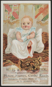 Trade card for W.H. & E. McAlister, manufacturers and dealers in picture frames, cards, easels, No. 81 Moody Street, Dorchester, Mass., undated