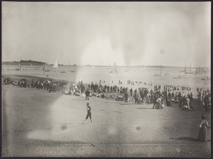 Beach goers at Marine Park in South Boston