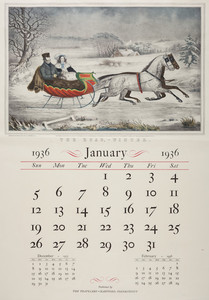 Travelers calendar, published by The Travelers, Hartford, Connecticut, 1936