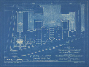 Blueprint of Block Plan of Rebuilt Hancock House and State House Front