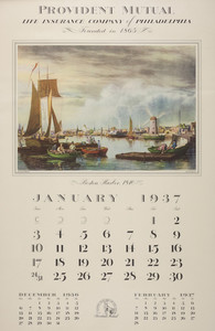 Calendar of early American prints, Provident Mutual Life Insurance Company of Philadelphia, Pennsylvania, 1937
