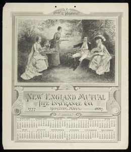 Calendar for New England Mutual Life Insurance Co., Post Office Square, Boston, Mass., 1887