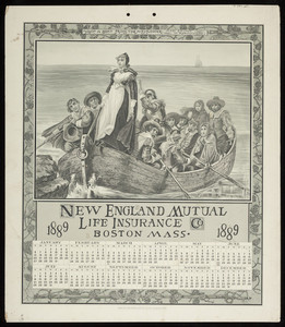 Calendar for New England Mutual Life Insurance Co., Post Office Square, Boston, Mass., 1889