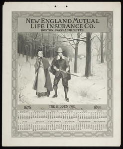 Calendar for New England Mutual Life Insurance Co., Post Office Square, Boston, Mass., 1891