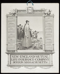 Calendar for New England Mutual Life Insurance Co., Post Office Square, Boston, Mass., 1894